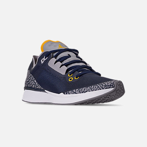 Three Quarter view of Men's Jordan '88 Racer Running Shoes in Dark Obsidian/White/Khaki