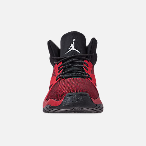 Front view of Boys' Little Kids' Air Jordan Lift Off Basketball Shoes in Black/Gym Red/White