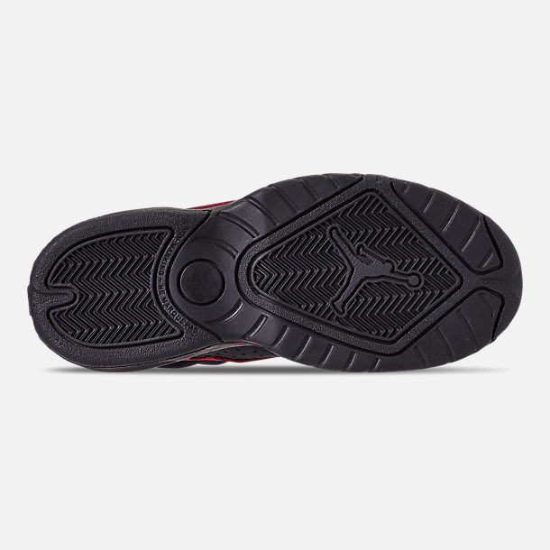 Bottom view of Boys' Little Kids' Air Jordan Lift Off Basketball Shoes in Black/Gym Red/White