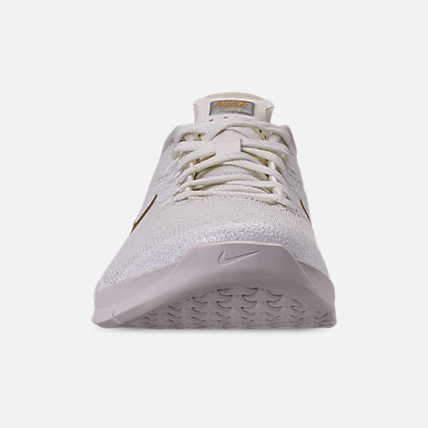Front view of Women's Nike Metcon 4 Champagne Training Shoes in Sail/Metallic Gold/Platinum Tint