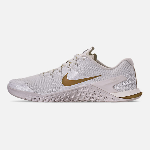 Left view of Women's Nike Metcon 4 Champagne Training Shoes in Sail/Metallic Gold/Platinum Tint