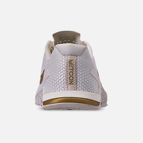 Back view of Women's Nike Metcon 4 Champagne Training Shoes in Sail/Metallic Gold/Platinum Tint