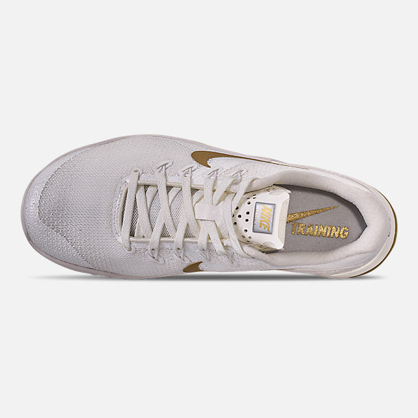 Top view of Women's Nike Metcon 4 Champagne Training Shoes in Sail/Metallic Gold/Platinum Tint
