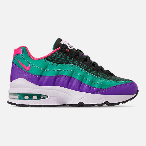Right view of Boys' Big Kids' Nike Air Max 95 Now Casual Shoes in Outdoor Green/Hyper Pink/Cabana