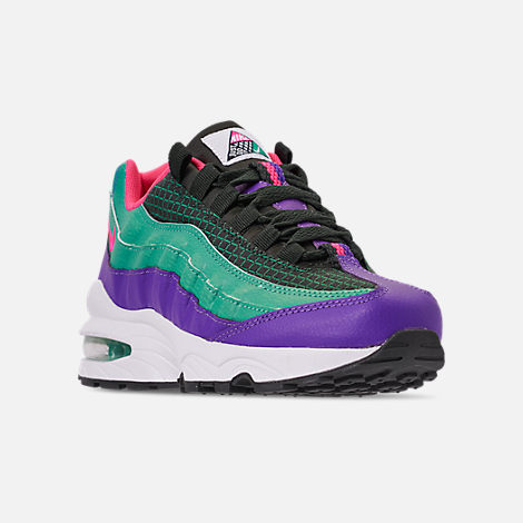 Three Quarter view of Boys' Big Kids' Nike Air Max 95 Now Casual Shoes in Outdoor Green/Hyper Pink/Cabana