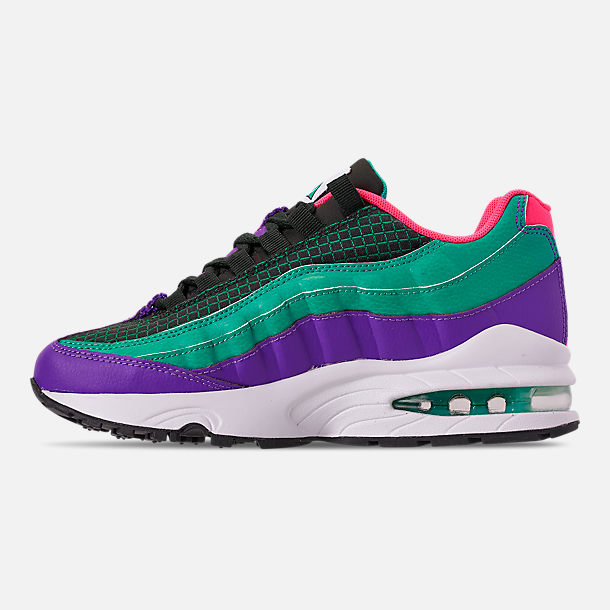 Left view of Boys' Big Kids' Nike Air Max 95 Now Casual Shoes in Outdoor Green/Hyper Pink/Cabana