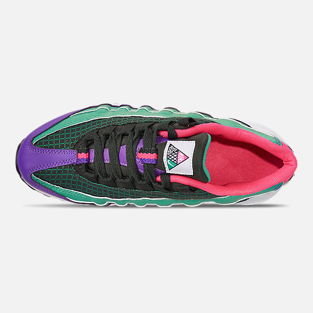 Top view of Boys' Big Kids' Nike Air Max 95 Now Casual Shoes in Outdoor Green/Hyper Pink/Cabana