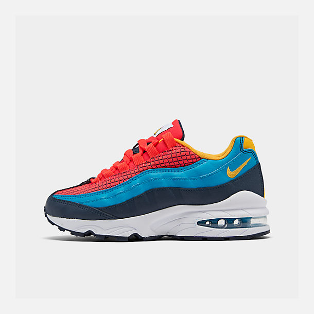 Right view of Boys' Big Kids' Nike Air Max 95 Now Casual Shoes in Bright Crimson/Amarillo/Photo Blue
