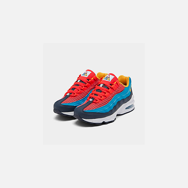 Three Quarter view of Boys' Big Kids' Nike Air Max 95 Now Casual Shoes in Bright Crimson/Amarillo/Photo Blue