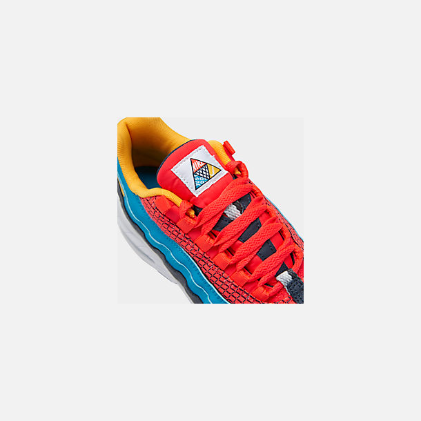 Front view of Boys' Big Kids' Nike Air Max 95 Now Casual Shoes in Bright Crimson/Amarillo/Photo Blue