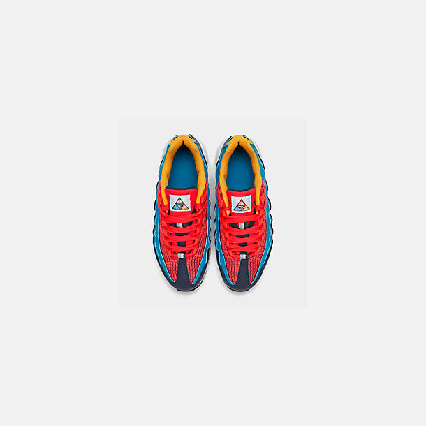 Back view of Boys' Big Kids' Nike Air Max 95 Now Casual Shoes in Bright Crimson/Amarillo/Photo Blue