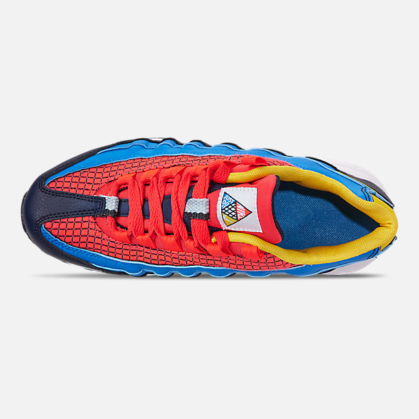 Top view of Boys' Big Kids' Nike Air Max 95 Now Casual Shoes in Bright Crimson/Amarillo/Photo Blue