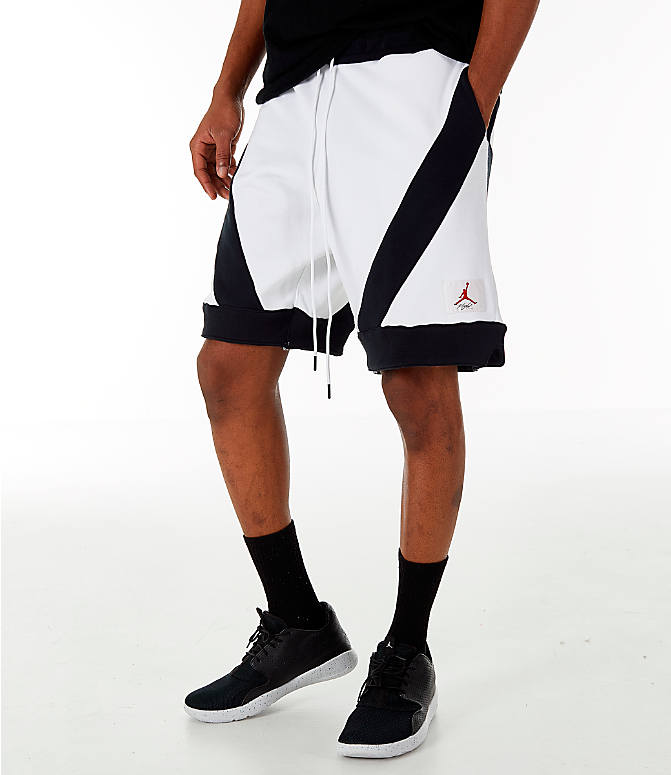 Front view of Men's Jordan Flight Loop Training Shorts in White/Black/Black