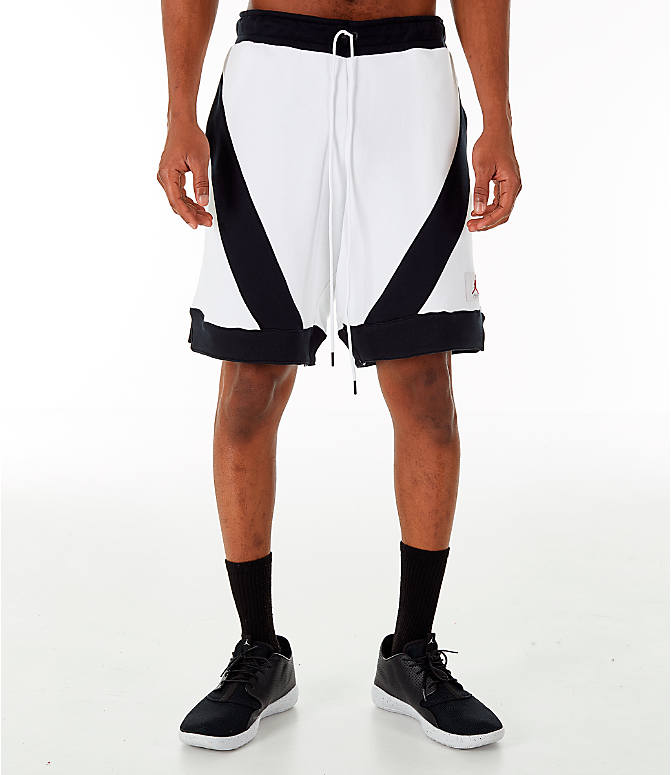 Front Three Quarter view of Men's Jordan Flight Loop Training Shorts in White/Black/Black