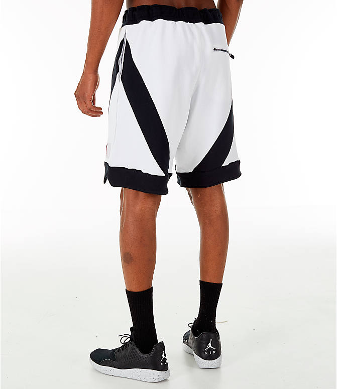 Back Left view of Men's Jordan Flight Loop Training Shorts in White/Black/Black