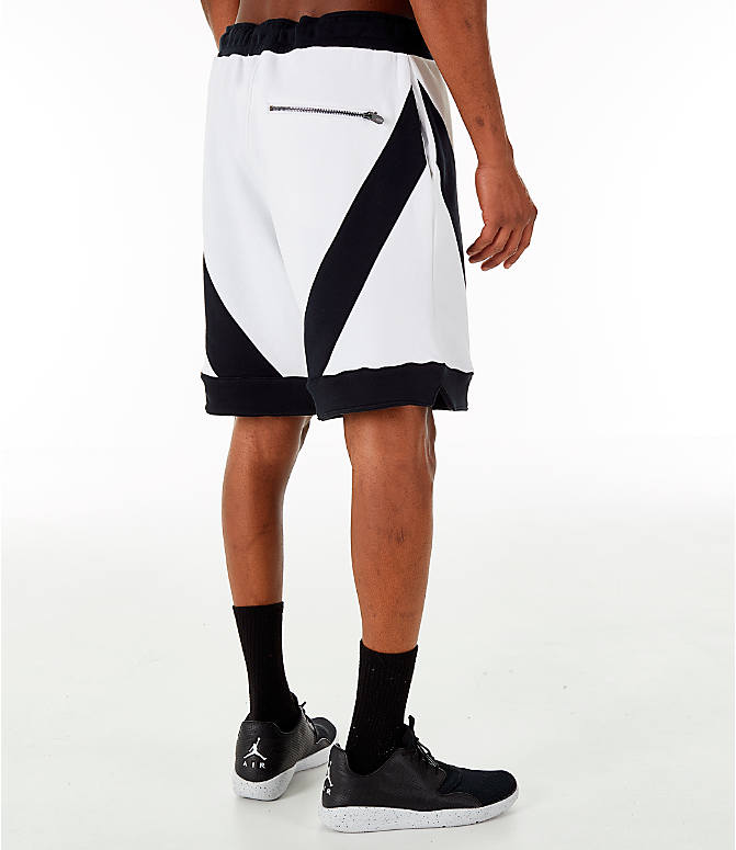 Back Right view of Men's Jordan Flight Loop Training Shorts in White/Black/Black