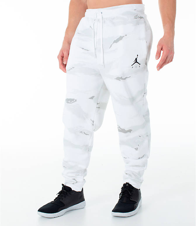 Front Three Quarter view of Men's Jordan Sportswear Jumpman Camo Jogger Pants in White