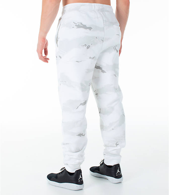 Back Left view of Men's Jordan Sportswear Jumpman Camo Jogger Pants in White