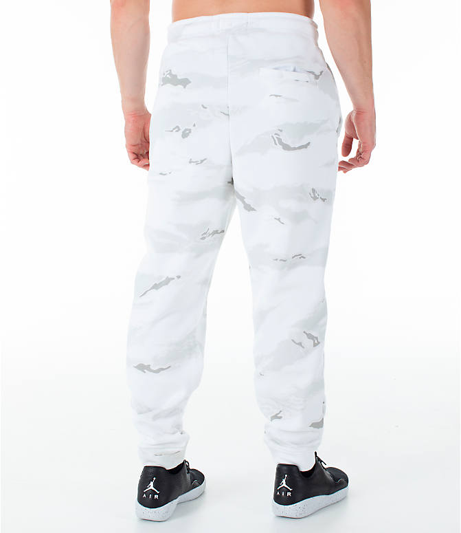 Back Right view of Men's Jordan Sportswear Jumpman Camo Jogger Pants in White