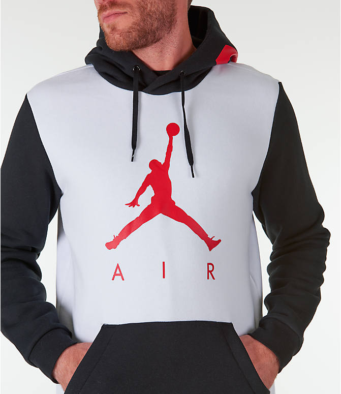 Detail 1 view of Men's Jordan Sportswear Air Jumpman GFX Hoodie in White/Black