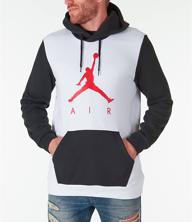 Front view of Men's Jordan Sportswear Air Jumpman GFX Hoodie in White/Black