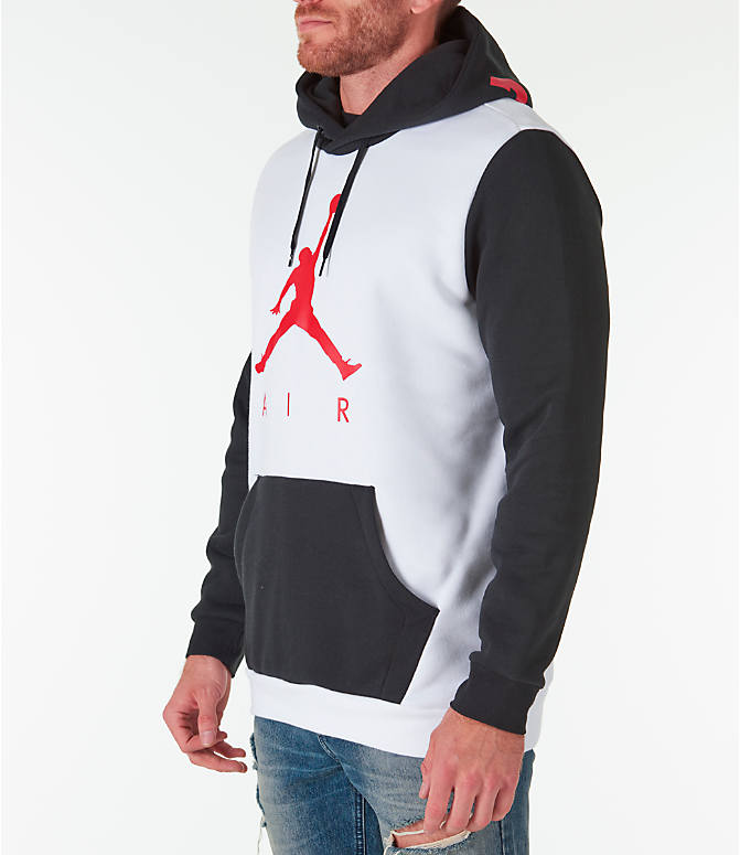 Front Three Quarter view of Men's Jordan Sportswear Air Jumpman GFX Hoodie in White/Black