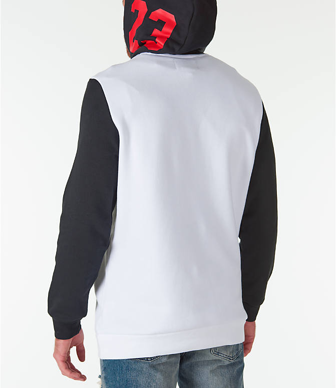 Back Left view of Men's Jordan Sportswear Air Jumpman GFX Hoodie in White/Black