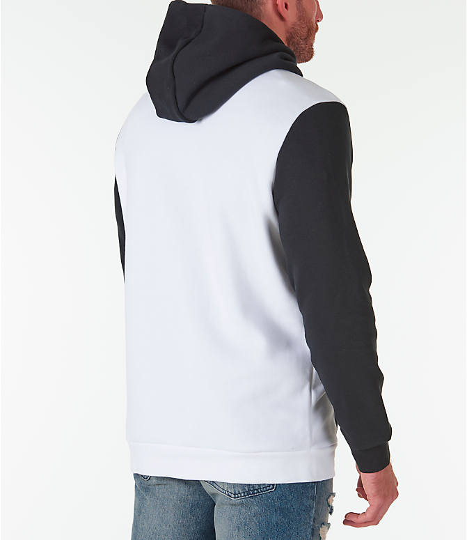 Back Right view of Men's Jordan Sportswear Air Jumpman GFX Hoodie in White/Black