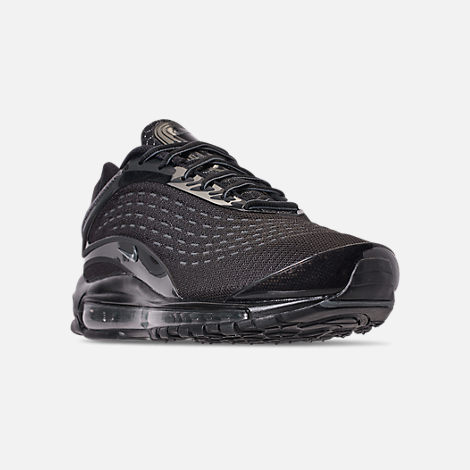 Three Quarter view of Unisex Nike Air Max Deluxe Running Shoes in Black/Dark Grey