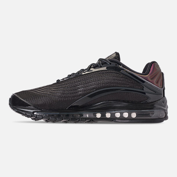 Left view of Unisex Nike Air Max Deluxe Running Shoes in Black/Dark Grey
