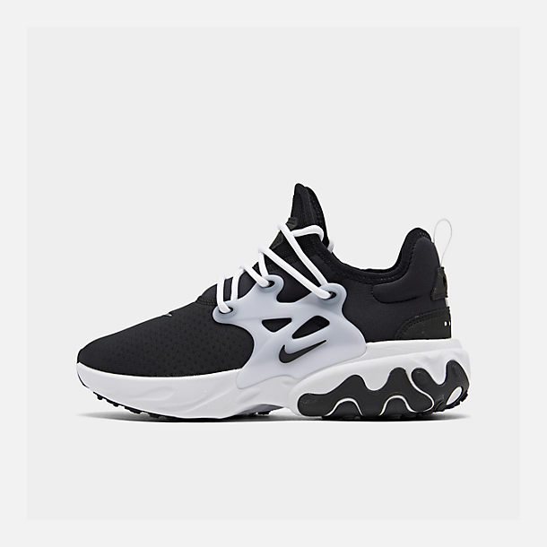 Right view of Men's Nike React Presto Running Shoes in Black/Black/White