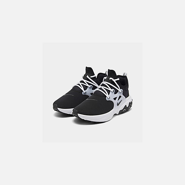 Three Quarter view of Men's Nike React Presto Running Shoes in Black/Black/White
