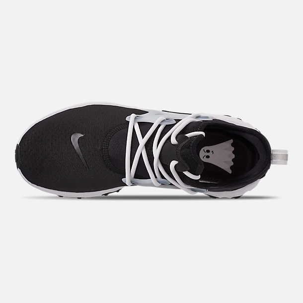 Top view of Men's Nike React Presto Running Shoes in Black/Black/White