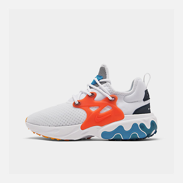 Right view of Men's Nike React Presto Running Shoes in White/Habanero Red/Obsidian/Pacific
