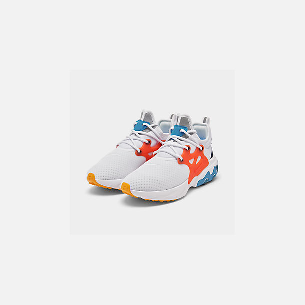 Three Quarter view of Men's Nike React Presto Running Shoes in White/Habanero Red/Obsidian/Pacific