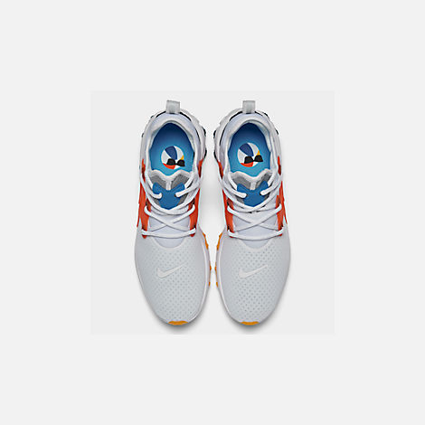 Back view of Men's Nike React Presto Running Shoes in White/Habanero Red/Obsidian/Pacific