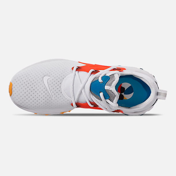 Top view of Men's Nike React Presto Running Shoes in White/Habanero Red/Obsidian/Pacific
