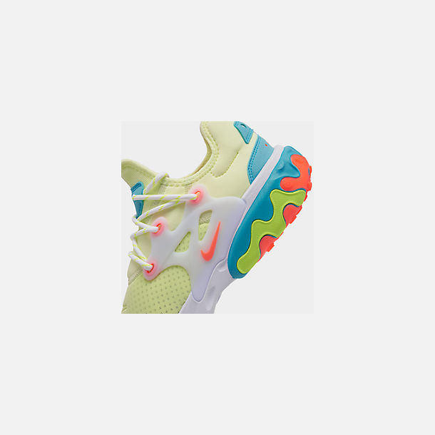 Front view of Men's Nike React Presto Running Shoes in Barely Volt/Hyper Crimson/Blue Gaze