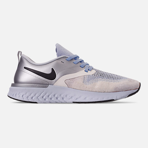 Right view of Women s Nike Odyssey React Flyknit 2 Premium Running Shoes in  Metallic Silver  0cb153d26