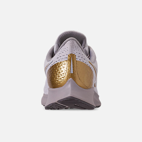 5ba9ad79282e Back view of Women s Nike Air Zoom Pegasus 35 Premium Metallic Running Shoes  in Vast Grey