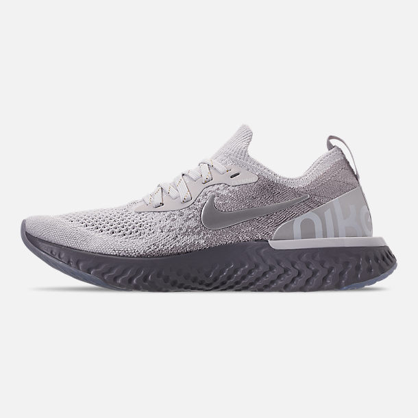 Left view of Women's Nike Epic React Flyknit Running Shoes in Vast Grey/Metallic Gold/Metallic Platinum