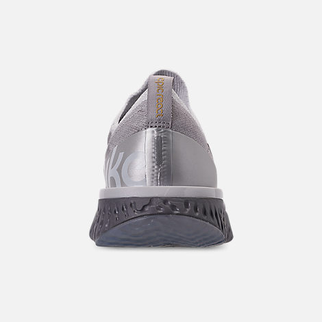 Back view of Women's Nike Epic React Flyknit Running Shoes in Vast Grey/Metallic Gold/Metallic Platinum