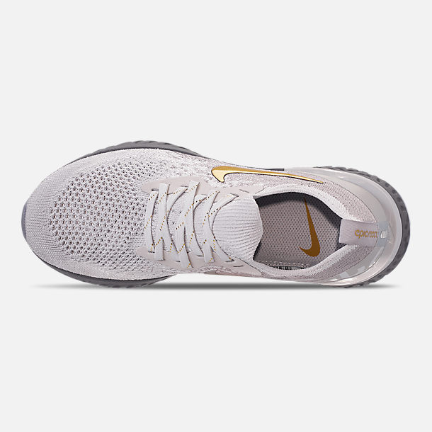 Top view of Women's Nike Epic React Flyknit Running Shoes in Vast Grey/Metallic Gold/Metallic Platinum