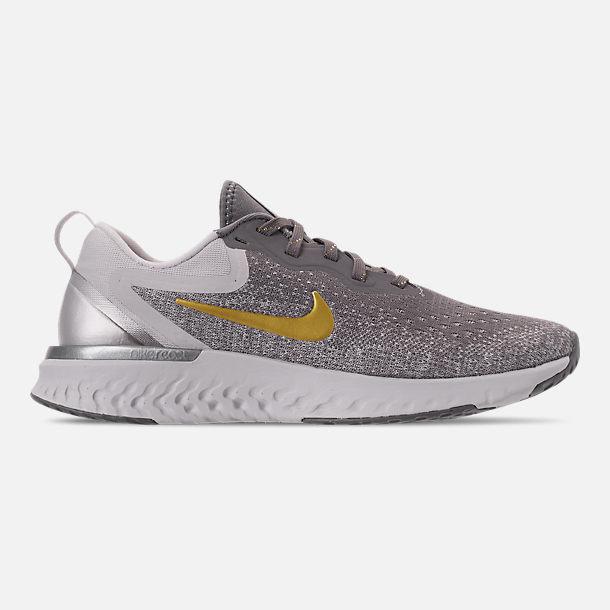 Right view of Women s Nike Odyssey React Metallic Premium Running Shoes in  Gunsmoke Metallic Grey 6167ffc687