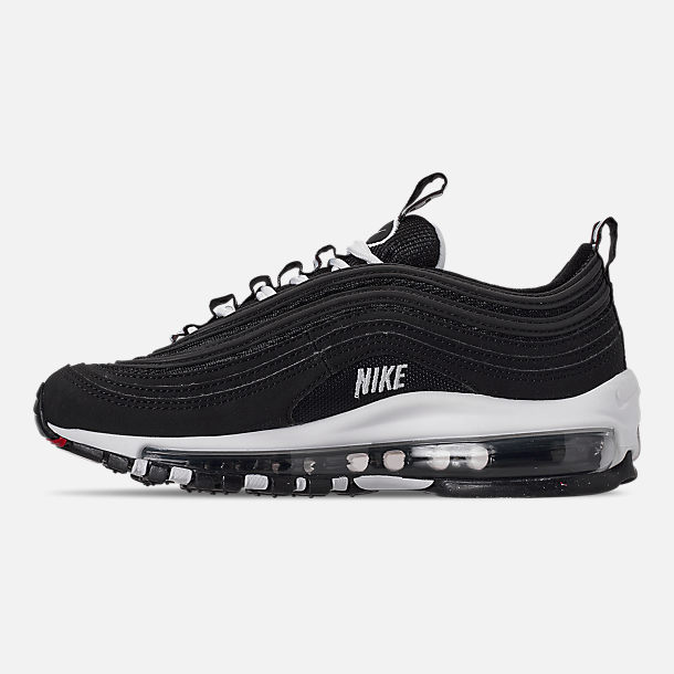 Left view of Boys' Big Kids' Nike Air Max 97 SE Casual Shoes in Black/White/Varsity Red