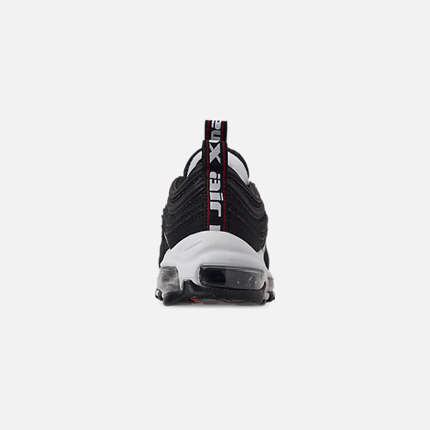 Back view of Boys' Big Kids' Nike Air Max 97 SE Casual Shoes in Black/White/Varsity Red