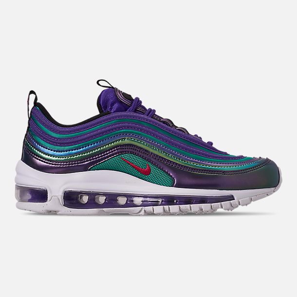 Right view of Girls' Big Kids' Nike Air Max 97 SE Casual Shoes in Court Purple/Rush Pink/Neptune Blue