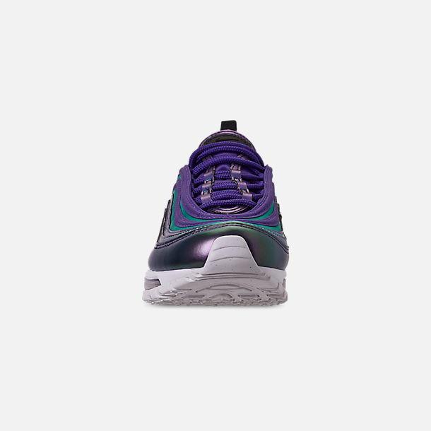 Front view of Girls' Big Kids' Nike Air Max 97 SE Casual Shoes in Court Purple/Rush Pink/Neptune Blue