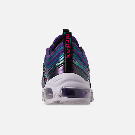 Back view of Girls' Big Kids' Nike Air Max 97 SE Casual Shoes in Court Purple/Rush Pink/Neptune Blue