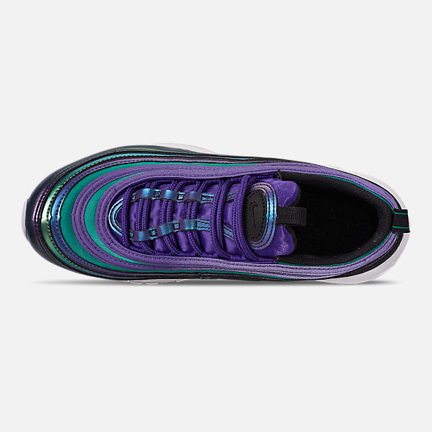 Top view of Girls' Big Kids' Nike Air Max 97 SE Casual Shoes in Court Purple/Rush Pink/Neptune Blue
